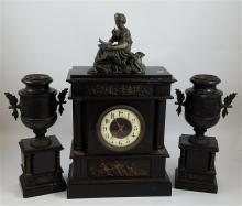 3 PIECE HEAVY BLACK MARBLE AND BRONZE FRENCH MANTEL CLOCK, 24