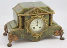 FRENCH GREEN MARBLE FOOTED MANTEL CLOCK WITH PORCELAIN DIAL, 9