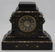 V. J. MAGNIN GUEDIN & CO SLATE AND MARBLE MANTEL CLOCK WITH JAPY FRERES MOVEMENT, 12.5