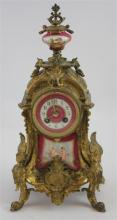 FRENCH BRONZE AND PORCELAIN SHELF CLOCK WITH HAND PAINTED PANELS, 17