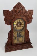 GINGERBREAD CLOCK WITH FERN DECORATION ON GLASS PANEL, 22
