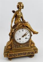 BRONZE FIGURAL CLOCK WITH DIANA, GODDESS OF THE HUNT, 14