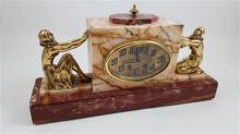PINK MARBLE DECO CLOCK WITH PIERROT AND PIERRETTE, 9