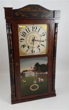 WILLIAMS, ORTON, PRESTON, AND CO MANTEL CLOCK WITH REVERSE PAINTED TABLET AND TOLE PAINTED COLUMNS, 32