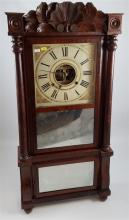 BIRG & FULLER TRIPLE DECKER MANTEL CLOCK WITH FULL PILASTERS AND CARVED CREST, 37.5