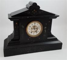 BLACK MARBLE MANTEL CLOCK WITH BRASS AND ENAMEL DIAL, 17