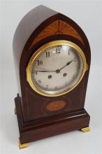 INLAID WOODEN MANTEL CLOCK WITH BRASS FEET, 14.5