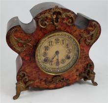 CAST IRON MANTEL CLOCK WITH MARBLE FINISH AND ORMOLU TRIM, 11