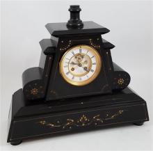 BLACK MARBLE MANTEL CLOCK WITH BRASS AND ENAMEL DIAL, 14