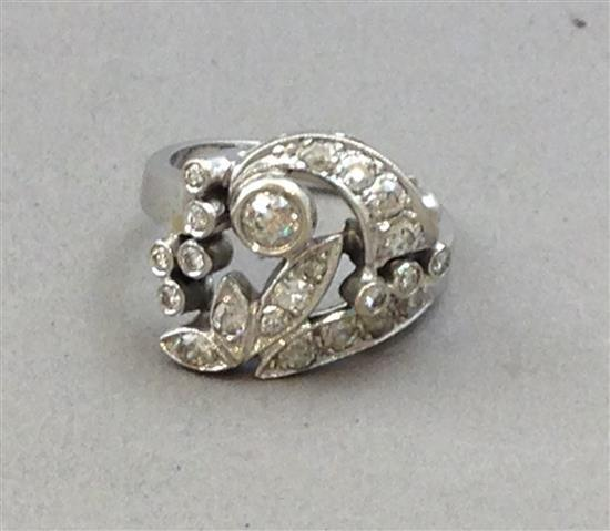 Stamped 14k white gold diamond fashion ring size 6 5 5 9 g for Diamond stamp on jewelry