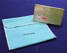TIFFANY & CO STERLING SILVER BUSINESS CARD HOLDER WITH POUCH, 3 3/4