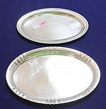 TWO 800 SILVER OVAL SMALL TRAYS, 8