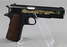 COLT MODEL 1911 .45 CALIBER SEMI AUTO PISTOL SN: CJMBC1620, BROWNING COMMEMORATIVE WITH WOOD BOX AND ORIGINAL BOX