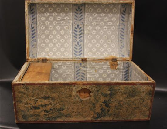 SMALL 1800s DOME TOP CHEST WITH PAINTED DECORATION, 23