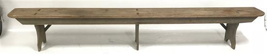 LONG COUNTRY BENCH WITH ORIGINAL PAINT, 116