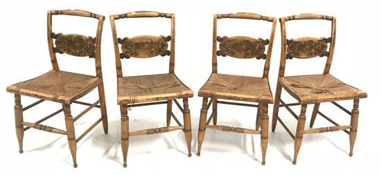 4 HITCHCOCK EARLY MAPLE CHAIRS WITH RUSH SEATS AND ORIGINAL DECORATION, FINISH IS WORN AND SEATS ARE DAMAGED