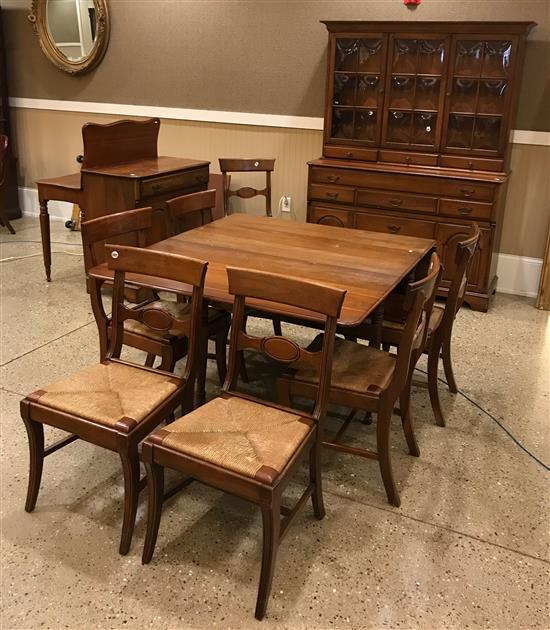 11-PIECE CHERRY DINING ROOM SET INCLUDING LONG LEAF DROP LEAF TABLE, 2 LEAVES, CHINA CABINET (54