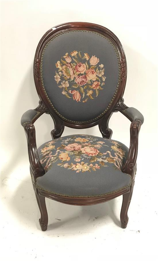 VICTORIAN PARLOR CHAIR WITH BLUE FLORAL NEEDLEPOINT SEAT AND BACK, 42