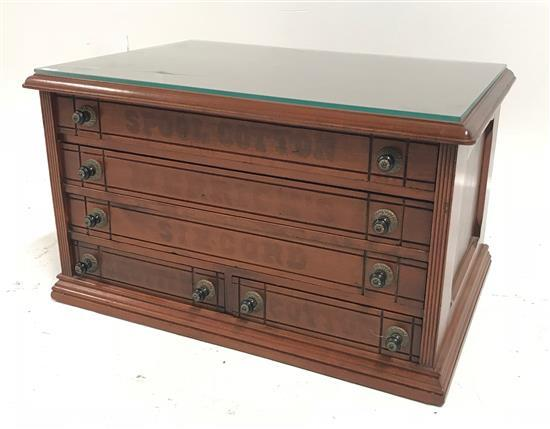 5-DRAWER SPOOL CABINET WITH SOME ORIGINAL LETTERING AND GLASS CUT FOR TOP, 24