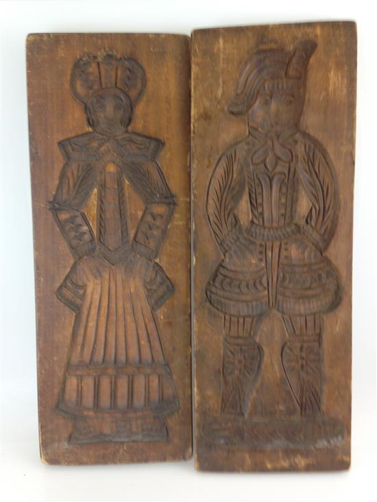 PAIR CARVED WOODEN PENNSYLVANIA DUTCH MOLDS OF MAN AND WOMAN, 19.5