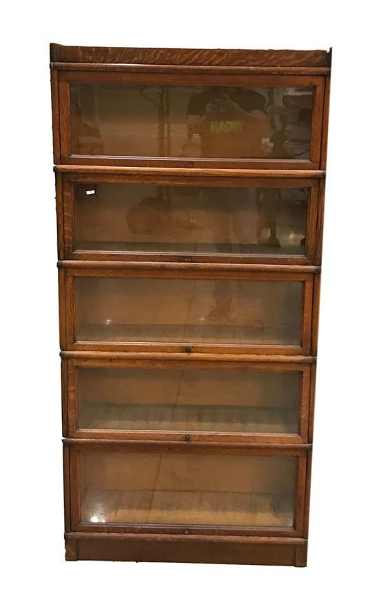 MACEY OAK FIVE-SECTION BARRISTER BOOKCASE, 70