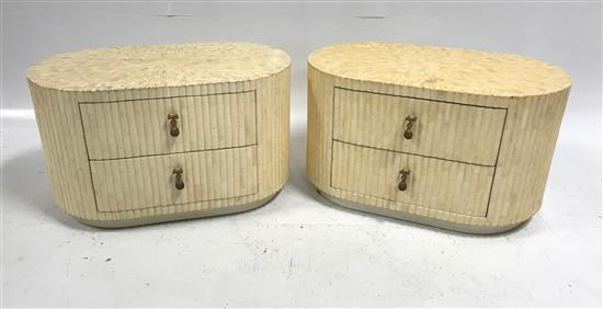 PAIR ENRIQUE GARCES 1970S TESSELLATED BONE AND SLICE ANTLER 2 DRAWER END TABLES HAND MADE IN COLUMBIA, 31