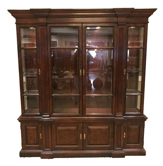 MAHOGANY 2-PIECE LIGHTED CHINA CABINET, 76