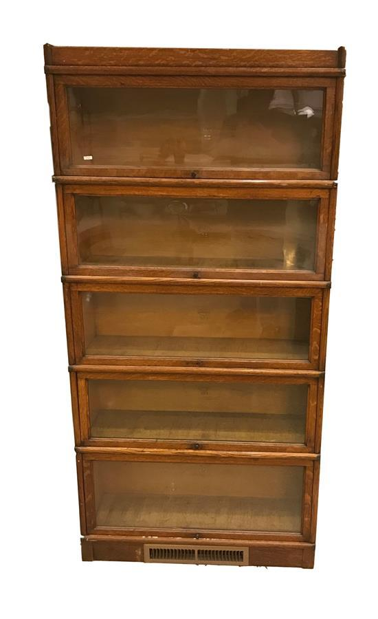 MACEY FIVE-SECTION OAK BARRISTER BOOKCASE WITH BOTTOM VENT ADDED, 70