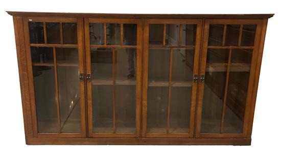 4-DOOR OAK ARTS AND CRAFTS STYLE BOOKCASE WITH GLASS DOORS, HAS BEEN CUT-DOWN, 106