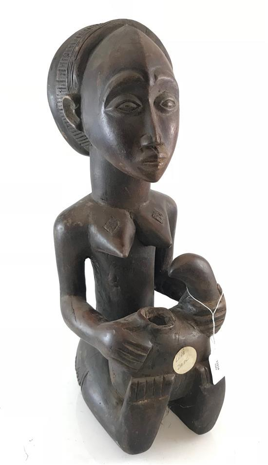 AFRICAN OLUMEYE FIGURINE (OFFERING VESSEL) USED BY CHIEF AND TRIBAL LEADERS TO OFFER FOOD AND OR GIFTS TO VISITING TRIBE LEADERS. MA...