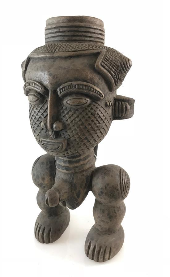AFRICAN ROYAL MALE FERTILITY CUP, MADE OF WOOD POSSIBLY FROM THE KUBA TRIBE, 14