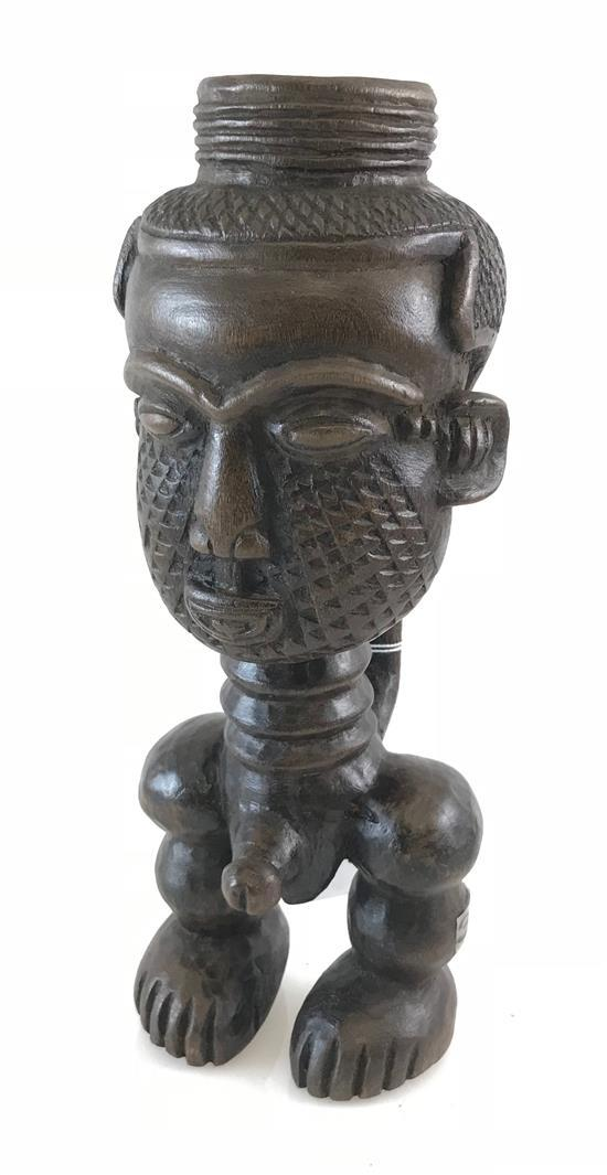 AFRICAN ROYAL MALE FERTILITY CUP, MADE OF WOOD POSSIBLY FORM THE KUBA TRIBE, 11