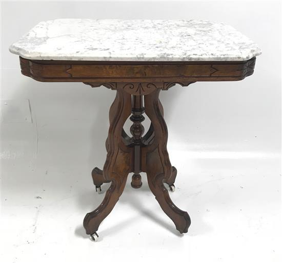 VICTORIAN MARBLE TOP TABLE, 28