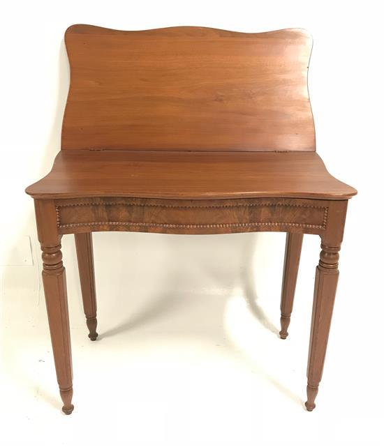 WALNUT VICTORIAN SERPENTINE-FRONT TURN-TOP GAME TABLE, 33