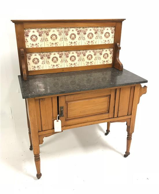 ENGLISH MAPLE WASHSTAND WITH TILE BACK AND BLACK MARBLE TOP, 36