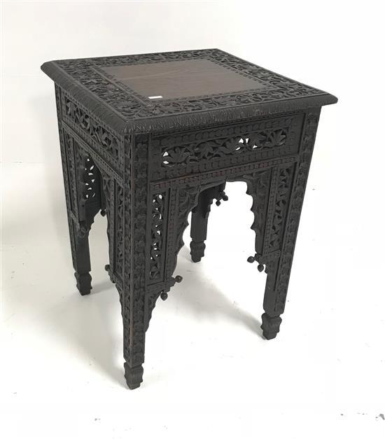 HIGHLY CARVED ASIAN SMALL SQUARE STAND, 18