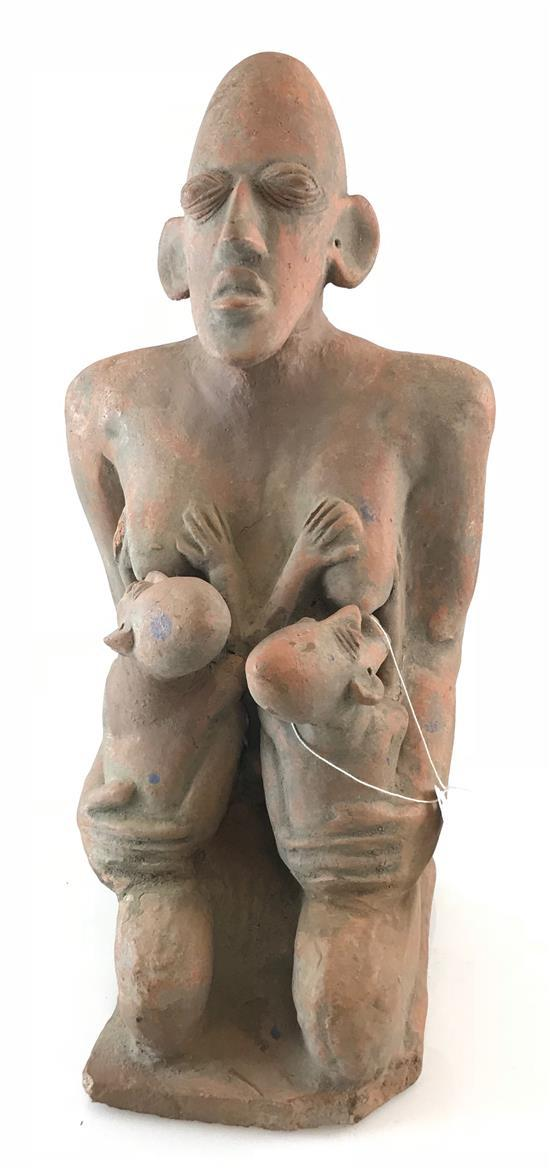 AFRICAN ART, STATUE MADE OF RED CLAY, FIGURE IS OF A WOMEN BREAST FEEDING HER TWO CHILDREN, FROM THE DJENNE TRIBE, 16