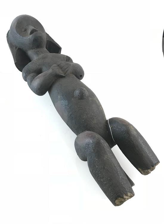 AFRICAN FANG STATUE, A SIMPLISTIC SCULPTURE MADE OF WOOD, THE HANDS OF THE FIGURE ARE CLOSED AND THE FIGURE IS SITTING DOWN, ALL OF...