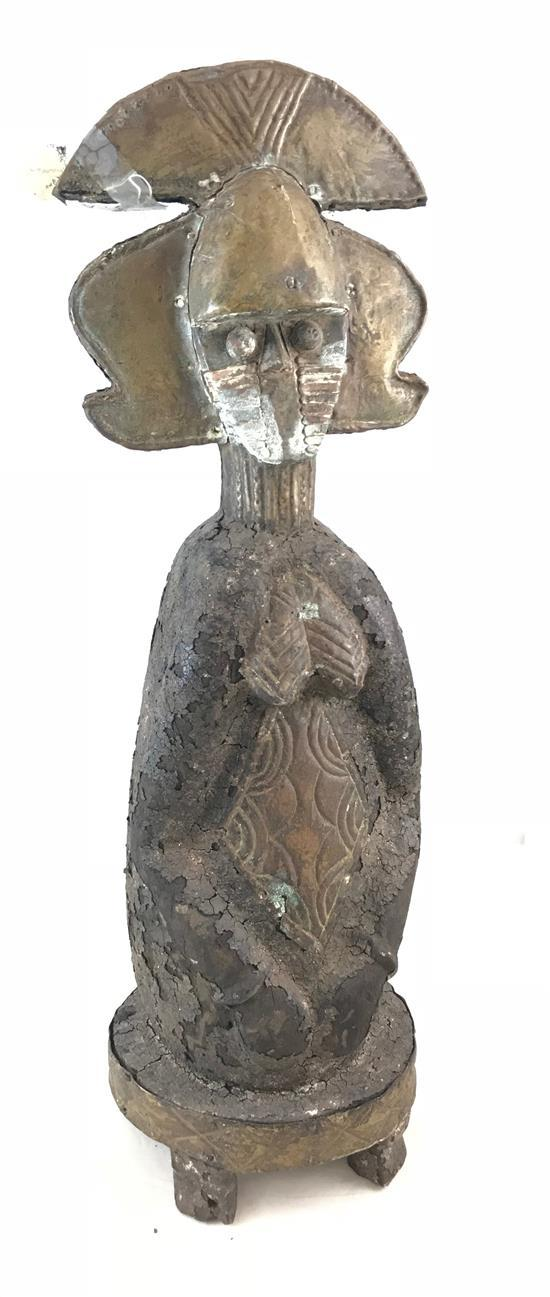 AFRICAN RELIQUARY FIGURINE (MBULU NGULU -IMAGE OF THE SPIRIT OF THE DEAD) USED TO MARK THE REMAINS OF IMPORTANT LEADERS, MADE OF WOO...