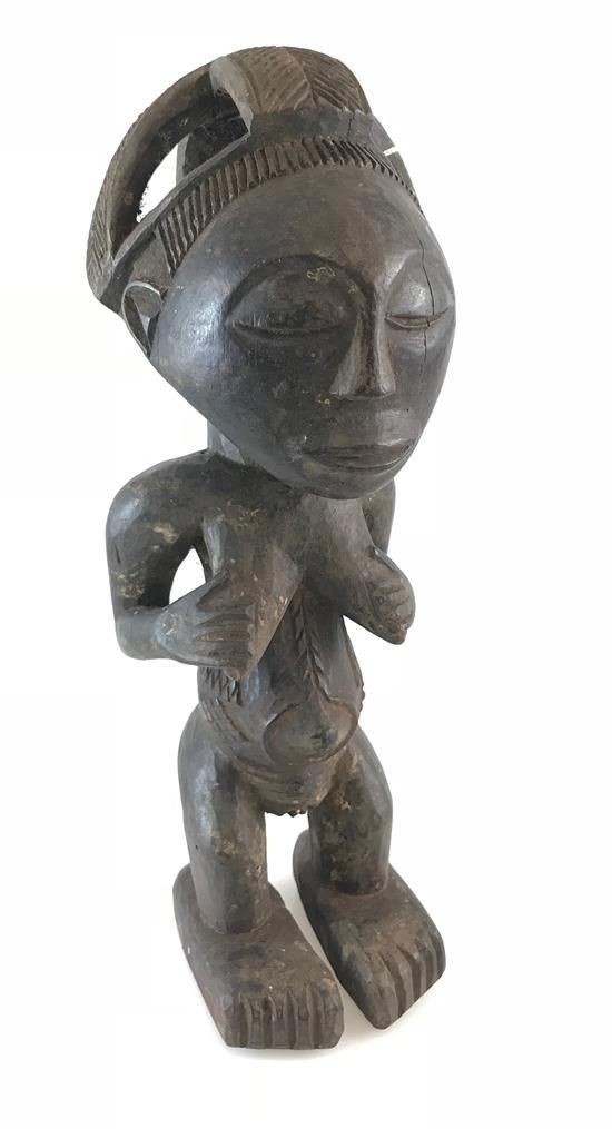 AFRICAN ART FERTILITY STATUE, CARVED FROM WOOD, POSSIBLY FROM THE HEMBA TRIBE 14.5