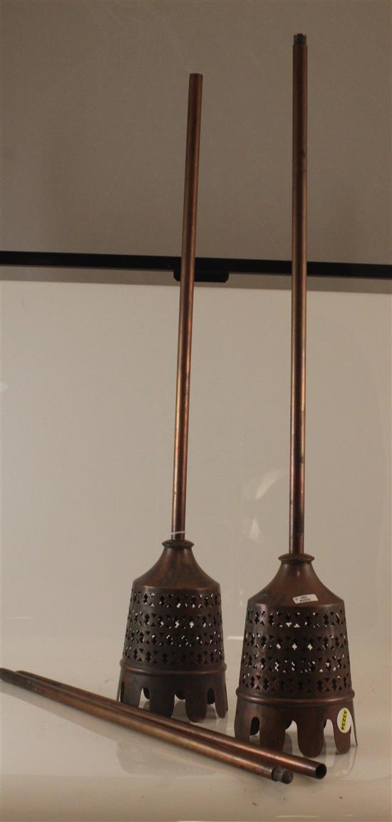 TWO COPPER OUTDOOR TORCHES, WITH DETACHABLE POINTED ENDS APPROXIMATELY 51