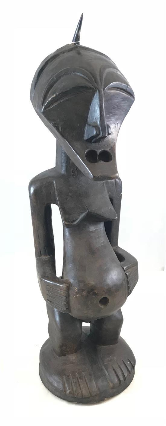 AFRICAN FERTILITY STATUE, CARVED FROM WOOD, HANDS ON BELLY, POSSIBLY FANG ,APPROXIMATELY 26