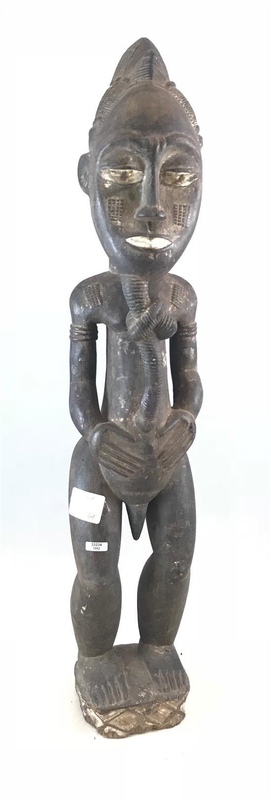 AFRICAN WOODEN STATUE, BAULE MALE FIGURE, WITH A LONG KNOT BEARD, FROM THE IVORY COAST, POSSIBLY A PATERNITY FIGURE. 30