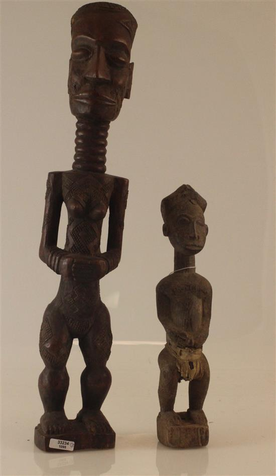 TWO HAND CARVED WOODEN AFRICAN FIGURIENES, BOTH HAVE EXSTENDED NECKS, 18