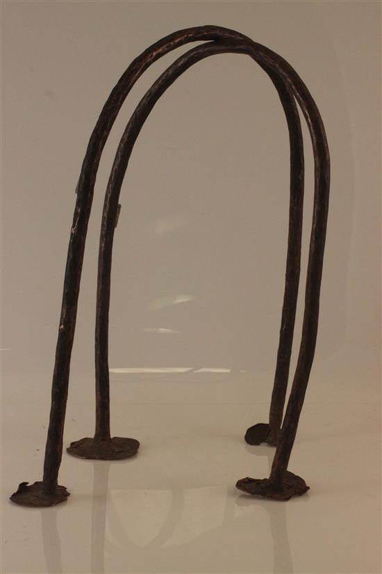 AFRICAN ART, TWO METAL HOOKS CREATED FOR PERMANENT ATTACHMENT TO A WALL OR FLOOR, EITHER INTENDED FOR A BARN OR JAIL.