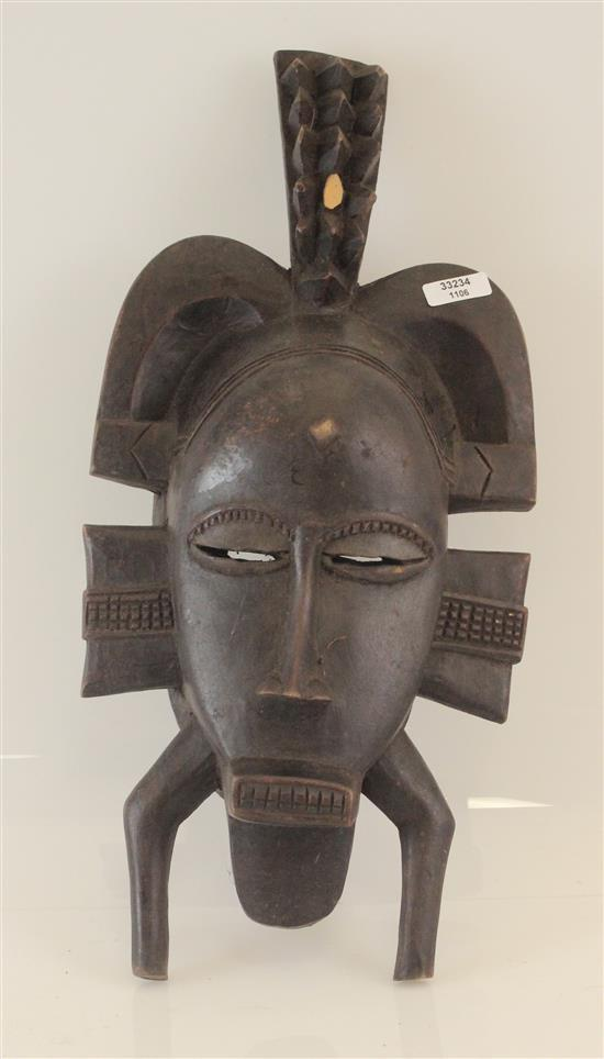 AFRICAN ART, WOODEN LIGBI STYLE MASK, USED FOR CELEBRATIONS, ORIGINATES IN THE IVORY COAST, 14