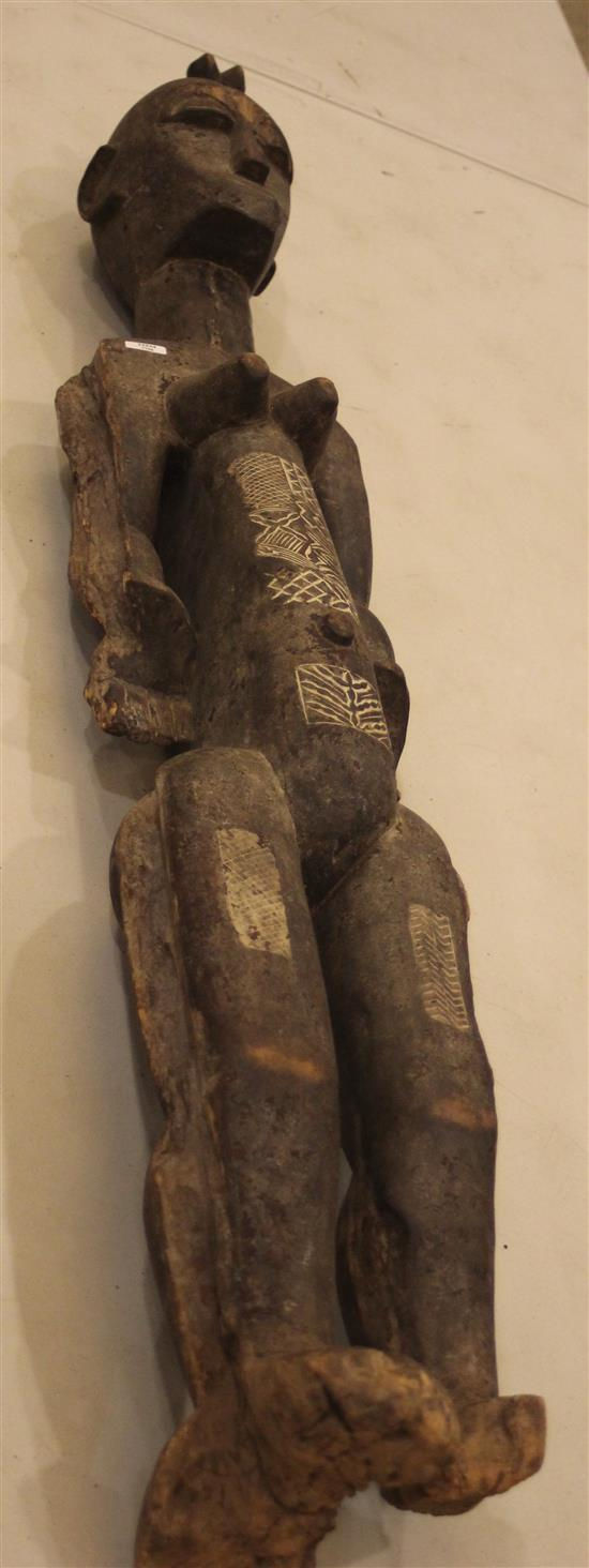 AFRICAN ART, WOODEN STATUE, MATERNITY THEMED CARVING WITH CARVED PATTERNS ON HER BELLY AND THIGHS, EXTENDED NECK, ROUNDED EARS CLOS...
