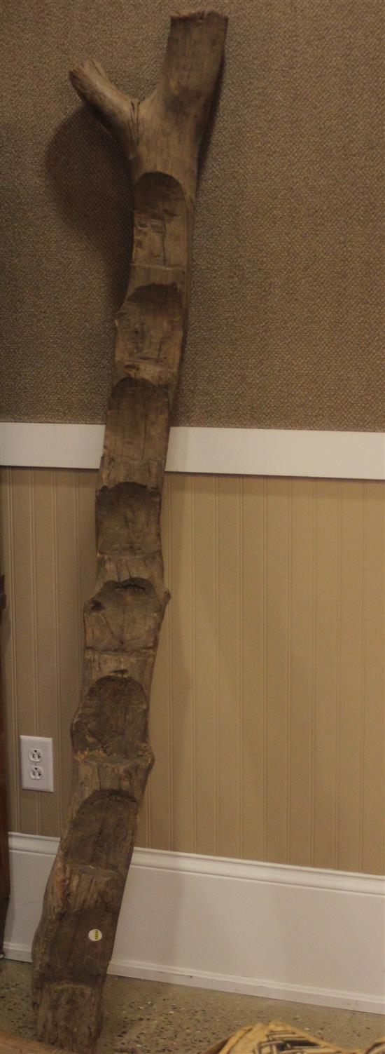 AFRICAN TRIBAL ART, HAND CARVED WOODEN DOGON LADDER, APPROX. 81
