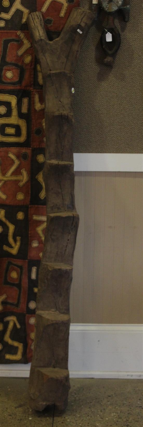 AFRICAN TRIBAL ART, HAND CARVED WOODEN DOGON LADDER, APPROX. 75