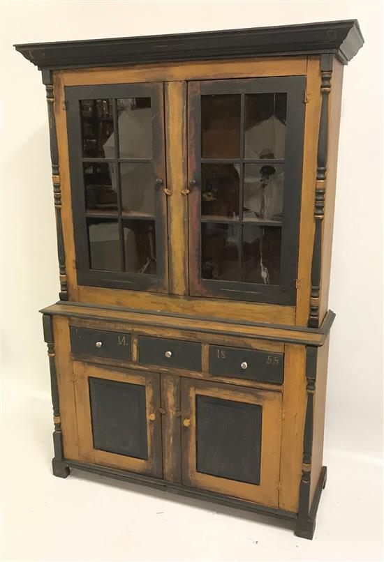 2-PIECE STEPBACK CUPBOARD, SOMERSET COUNTY, PA., WITH BLACK AND MUSTARD PAINT, SOME RESTORATION, 54